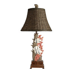 """Lamps Plus - Coastal Key Largo Coral Life Table Lamp - Three fishes swim around coral and sea weed. The beautiful scenery makes for a wonderful accent piece on an end table or side table. The piece is constructed out of poly. Coral life accent table lamp. Key Largo finish. Poly construction. Coral life scenery. Lampshade is woven rattan. Rotary switch. Shade is 15"""" across the bottom 11"""" across the top and 8"""" high. Base is 4 3/4"""" wide footed square. 31"""" high.   Coral life accent table lamp.  Key Largo finish.  Poly construction.  Coral life scenery.  Lampshade is woven rattan.  Rotary switch.  Shade is 15"""" across the bottom 11"""" across the top and 8"""" high.  Base is 4 3/4"""" wide footed square.  31"""" high."""