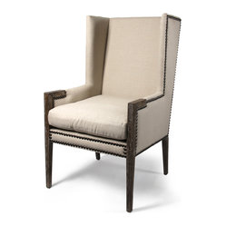 French Modern Angled Linen Nail Head Wing Chair