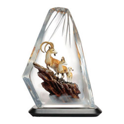 Franz Porcelain - FRANZ PORCELAIN COLLECTION Three Goats Prosperity Lucite Sculpture FL00100 - Finished In Lead Free Glazes * Hand Painted By Franz Porcelain Artisans * FDA Approved Food/Plant Safe * New In The Original Box