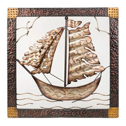 """Metal Framed Ship Sculpture - The metal framed ship sculpture measures 24"""" x 24"""". This item features a beautiful metal ship attached to a metal frame. It will add a definite nautical touch to wherever it is placed and is a must have for those who appreciate high quality nautical decor. It makes a great gift, impressive decoration and will be admired by all those who love the sea."""
