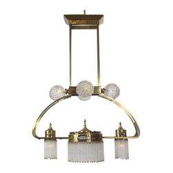 Arte Deco - Spanish Art Deco Brushed brass chandelier.