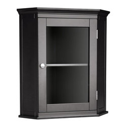 Elegant Home Fashions - Madison Avenue Corner Wall Cabinet w Shelf in Espresso - Attractive addition to any bath decor. Add style and storage to your bath with refreshing furnishings. Each piece is made from MDF (Medium Density Fiberboard). Espresso finish. 21.25 in. W x 14.25 in. D x 23.75 in. H