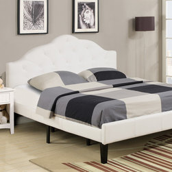 White Full size platform bed - Outfit your contemporary bedroom with this beautiful upholstered bed. With a modern styling, it features a gently curved cloud headboard for a transitional style that are upholstered in a stunning dual micro/bomber jacket upholstery. Truly a bold centerpiece for any bedroom, this bed is accented with button tufting on the headboard, and exposed wood bun feet add additional detail to please. This bed is available in Full and Twin sizes.