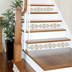 """Kolkata Stripes Stairs Set of Wall Decals - You know that saying, it's the simple things in life! Kolkata is simple but makes a bold statement with its peel and stick diamond gems that make it sparkle beyond belief. This pack contains Four 5.25"""" x 12' Kolkata Taupe Stripes. WallPops are repositionable and always removable."""
