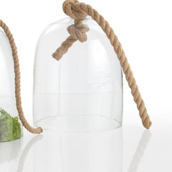 Judd Large Glass/Rope Cloche - Make an arrangement of charming or beautiful objects all the more cherished by enclosing it inside a glass cloche � especially a version of that essential traditional accessory which is so intriguingly detailed as the Judd Cloche.  Available in two sizes, this clear glass bell is topped by a simple knot of heavy jute rope, lending a crafted appearance to the vignette you enclose.