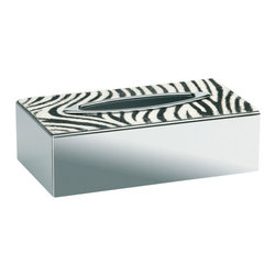 Windisch - Rectangle Chrome Tissue Box Cover with Zebra Design - Contemporary style tissue box cover with zebra design on top.