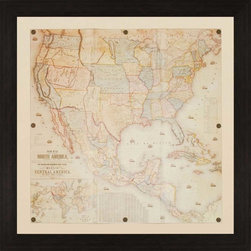Paragon Decor - North America, 1853 Artwork - Map print is folded for a dimensional effect and enhanced with decorative tacks.