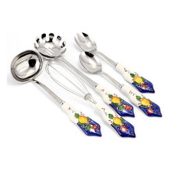 Artistica - Hand Made in Italy - Limone Fiore: Pre-Pack - Ladle + Whisk + Spaghetti Spoon + Salad Server Set - Our all New and exclusive Limone Fiore collection was inspired by the renowned Amalfi Coast lemons