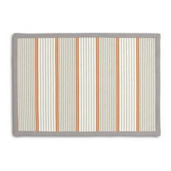 Gray & Orange Optical Stripe Tailored Placemat Set - Class up your table's act with a set of Tailored Placemats finished with a contemporary contrast border. So pretty you'll want to leave them out well beyond dinner time! We love it in this modern orange & gray optical stripe on white cotton. get in line, it's going fast!