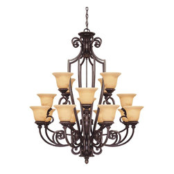 Savoy House - Knight 16 Light Chandelier - Rich details and classic styling accentuate the Knight collection from Savoy House. The bold lines are enhanced by a rich Antique Copper finish and Antique Marble glass.