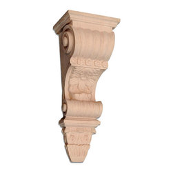 "Inviting Home - Columbia Wood Bracket - White Oak - wood bracket in white oak 12-3/8""H x 4""D x 5""W Corbels and wood brackets are hand carved by skilled craftsman in deep relief. They are made from premium selected North American hardwoods such as alder beech cherry hard maple red oak and white oak. Corbels and wood brackets are also available in multiple sizes to fit your needs. All are triple sanded and ready to accept stain or paint and come with metal inserts installed on the back for easy installation. Corbels and wood brackets are perfect for additional support to countertops shelves and fireplace mantels as well as trim work and furniture applications."