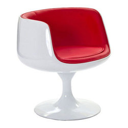 """LexMod - Cup Dining Armchair in Red - Cup Dining Armchair in Red - Contain far-reaching motivations in one single enclosure. With its open front and insulated fiberglass casing, the Cup Chair is a cache of stable exuberance made public. Give an appreciative tone to your room with a piece that fosters gratitude and comfort. Set Includes: One - Cup Chair Modern classic design, Lined vinyl interior, Durable Fiberglass Plastic, Flowing pedestal stand Overall Product Dimensions: 25""""L x 25""""W x 25""""H Seat Height: 17""""H Armrest Height: 27""""H - Mid Century Modern Furniture."""
