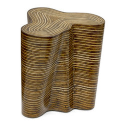 "Oggetti - Showtime Orgo End Table - The Tavola division began over twenty-five years ago when Oggetti was approached by a large furniture maker from the island of Cebu in the Philippines. They were experimenting with several natural materials and were looking for input for designs, marketing and ultimately U.S. distribution. From this initial contact, Tavola, meaning ""table"" in Italian, was born. Tavola is known today for the use of these natural materials, such as shells, coconut and even rope. The line has since expanded tremendously and includes furniture in a variety of styles and finishes from other countries as well. Features: -Material: Inlaid with rattan strips. -Made in the Philippines. -Small dimensions: 18"" H x 15"" W x 18"" D. -Large dimension: 22"" H x 18"" W x 22"" D."