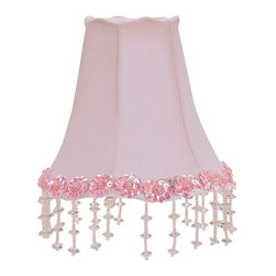 """Lamps Plus - Kids Pink Beaded Floral Bell Shade 3x5x4.45 (Clip-On) - Add delicate elegance to your living space with this pink clip-on shade. The design features a scalloped edge lined with sequined pink flowers and matching dangling beads for a simple and beautiful look. Recommended for use with 25 watt candelabra bulbs. Pink flower trim. Hanging beads. Pink scalloped edge. Clip-on style. 3"""" across the top. 5"""" across the bottom. 4 3/4"""" on the slant. Recommended for use with 25 watt bulbs.  Pink flower trim.  Hanging beads.  Pink scalloped edge.  Clip-on style.  Recommended for use with 25 watt candelabra bulbs.  3"""" across the top.  5"""" across the bottom.  4 3/4"""" on the slant."""