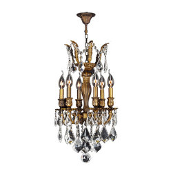 "Worldwide Lighting - Versailles 6 Light Antique Bronze Finish Crystal Chandelier 13"" - This stunning 6-light Chandelier only uses the best quality material and workmanship ensuring a beautiful heirloom quality piece. Featuring a cast aluminum base in Antique Bronze finish and all over clear crystal embellishments made of finely cut premium grade 30% full lead crystal, this chandelier will give any room sparkle and glamour. Worldwide Lighting Corporation is a privately owned manufacturer of high quality crystal chandeliers, pendants, surface mounts, sconces and custom decorative lighting products for the residential, hospitality and commercial building markets. Our high quality crystals meet all standards of perfection, possessing lead oxide of 30% that is above industry standards and can be seen in prestigious homes, hotels, restaurants, casinos, and churches across the country. Our mission is to enhance your lighting needs with exceptional quality fixtures at a reasonable price."