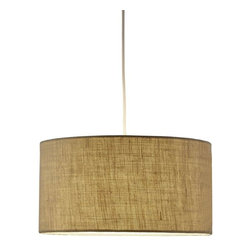 Adesso - Adesso Harvest Drum Pendant, Burlap - Drum pendant consists of hardback wheat-colored burlap fabric. 15' white portable cord set with socket and hanging apparatus included. Line switch near the plug. 150 Watt incandescent or equivalent CFL bulb. 8 in Height, 15 in Diameter