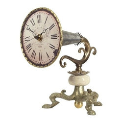 "Luna Bella - The Cody Table Clock by BSEID - More than just a clock, the Cody Table Clock is a decorative work of art in a pewter and cream base with mild distressing. With its bugle-like influence, this is functional decor for the customer with a fine appreciation for music. Quartz mechanism. (LB) 7.5"" wide x 10"" deep x 10"" high"