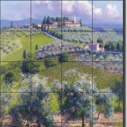 "Artwork On Tile - Carey Tuscan Olive Grove Art Ceramic Tile Mural 17"" x 25.5"" GW-JC010 - * 17"" w x 25.5"" h x .25"" Ceramic Tile Mural on Architectural Grade, 4.25"" Tile w/Satin Finish"