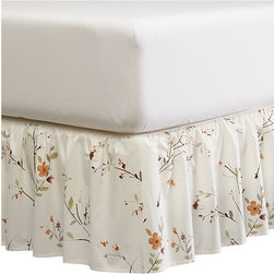 Sakura Queen Bedskirt - Flowering branches of poppy, greens and browns in an artistic arrangement on soft white 220-thread-count cotton. Bedskirt flows naturally in a relaxed ruffle.