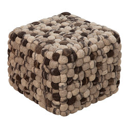 Grey and Taupe Wool Pouf - Add a unique dimension and interesting flair to any seating area, the Grey and Taupe Wool Poof has knobs of pure wool in a square pouf that is perfectly intriguing while being functional as well. Place a pair of these fantastically shaped poufs at either end of a sofa or in a sleek contemporary chair for a spot of texture and flair.