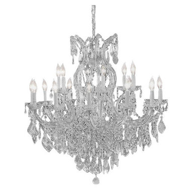 The Gallery - Crystal chandelier with Swarovski crystal - Maria Theresa chandelier dressed with Swarovski crystal. A great European tradition. Nothing was ever quite so elegant as the fine crystal chandeliers that lent sparkle to brilliant evenings in palaces and manor houses across Europe. This beautiful version from the Maria Theresa collection is dressed with Swarovski crystal that captures and reflects the light of candle bulbs resting in a scalloped bob ache. The timeless elegance of these chandeliers is sure to lend a special atmosphere in every home.