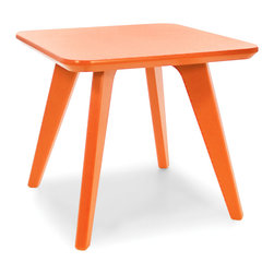 Loll Designs - Satellite End Square 18 Table, Sunset Orange - In the context of outdoor lounging, a Loll Satellite accent table is a recycled polyethylene object placed into orbit around humans resting in Loll Furniture. Unlike the moon, the Loll Satellite Table actually rotates in conjunction with the Earth and her inhabitants, at just over 1,000 miles per hour, but appears to be sitting still. We think it's time for you to have your very own Satellite... perfect for star gazing on black nights with warm breezes and cold drinks. All Loll Satellite Tables are made with heavy duty 1 inch thick poly and available in an assortment of colors, shapes and sizes.
