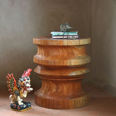 """Goya End Table - This beautiful end table at a large 18"""" diameter is turned from a solid block of Margosa wood and is perfect as a monumental side table or as a sculptural stool."""