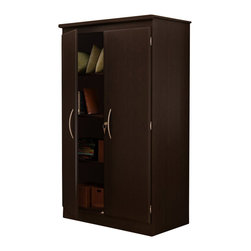 South Shore - South Shore Park 2 Door Storage Cabinet in Chocolate Finish - South Shore - Storage Cabinets - 7259970 - This storage cabinet from the South Shore Park Collection is a fantastic addition for any room that requires more storage. The unit comes with three shelves the bottom of which is divided into two for even more storage options. The double doors swing open on wide hinges so that they may open a full 180 degrees. Available in Chocolate finish and features brushed metal door handles for added convenience.Features: