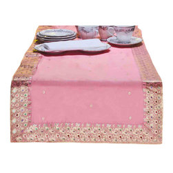 Indian Selections - Hand Crafted Pink Table Runner, 18 X 108 Inches - Fabric: Poly Art Silk Sari fabric