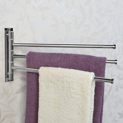 Solid Brass Triple Swing Arm Towel Bar - Featuring three bars, the Solid Brass Triple Swing Arm Towel Bar can hold several bath towels or robes at the same time. The functional design allows it to rotate to stay flush against the wall when not in use.