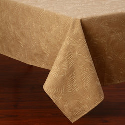 None - Corona Decor Palm Design 50 x 90-Inch Italian Heavy Weight Wheat Tablecloth - Give your dining room a new look with this heavy weight palm design tablecloth. This tablecloth is woven of Italian fabric for an elegant feel.