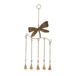 """Benzara - Dragonfly Wind Chime Assembled with 5 Hanging Bells - Dragonfly Wind Chime Assembled with 5 Hanging Bells. Revel in the mesmerizing and gentle melodies from this metal dragonfly wind chime. It comes with following dimensions: 8""""W x 1""""D x 18""""H."""