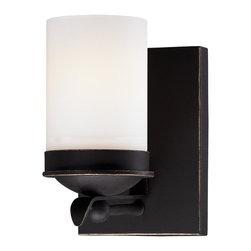Minka Lavery - Minka Lavery 6971-269 Kingsgate Kona Black 1 Light Bathroom Wall Sconce - Etched White Glass Shade
