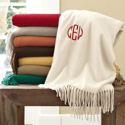 Solid Cashmere Throw - A monogrammed cashmere throw is a perfect gift. It's luxurious and the personalization is a thoughtful touch.