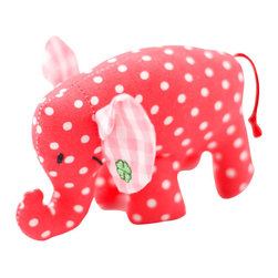 K�the Kruse - Pink Mini Elephant - Strike up the band. There are pink elephants on parade in baby's room. This precious little pachyderm is handmade of colorful polka dot fabric with contrasting pink gingham ears. There's even a four leaf clover for baby's good luck.