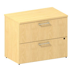 "Bush - Bush 300 Series 2-Drawer Lateral File in Natural Maple - Bush - Filing Cabinets - 300SFL236ACK - Expand storage with a 2-drawer lateral file matched to desk height. The BBF Mocha Cherry 300 Series 36""""W 2-Drawer Freestanding Lateral File Kit works hard from day one. Two laterally opening file drawers hold letter legal or A4-size files. Stable design with interlocking drawers reduces likelihood of tipping. Full-extension ball bearing slides make it easy to reach back of file drawers. Choose from multiple finish options to outfit any-size office space. Tough edge banding resists dents dings nicks scrapes and collision impacts. Diamond Coat(TM) top surface is scratch/stain resistant. Mocha Cherry finish complements any office decor and matches other 300 Series pieces. Includes BBF Limited Lifetime warranty."