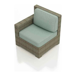 Forever Patio - Hampton Outdoor Wicker Right Arm Sectional, Heather Wicker and Spa Cushions - Create a sectional that looks great and provides plenty of comfort with the Forever Patio Hampton Modern Patio Sectional Right Arm Facing Chair with Turquoise Sunbrella cushions (SKU FP-HAM-RAC-HT-SP). The UV-protected, heather wicker sports a flat woven design, creating a contemporary look with clean lines. Each strand of this outdoor wicker is made from High-Density Polyethylene (HDPE) and is infused with its rich color and UV-inhibitors that prevent cracking, chipping and fading ordinarily caused by sunlight. This modern patio sectional piece is supported by thick-gauged, powder-coated aluminum frames that make it more durable than natural rattan. This sectional piece includes fade- and mildew-resistant Sunbrella cushions for added comfort in your outdoor space.