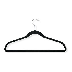 Honey Can Do - 50-Pack Velvet Touch Suit Hanger in Black - Set of 50. 360 degree swivel rod hook. 0.25 in. profile saves valuable space. Durable, reliable and long-lasting. Lifetime limited warranty. Made from velvet and steel. Black finish. No assembly required. 17.75 in. L x 0.27 in. W x 9.5 in. H (9 lbs.)Velvet Touch Suit Hanger, beautiful, soft, and durable this clothes hanger is contoured to keep shirts, dresses, jackets, and pants perfectly wrinkle-free.