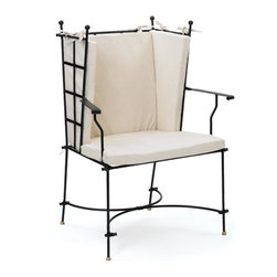 Go Home - Charleston Chair - Our Secret Garden Collection is inspired by intimate courtyards of Charleston SC and New Orleans LA. We love the French-inspired iron frame and elegant lines of this versatile chair. Use this chair indoors or out!