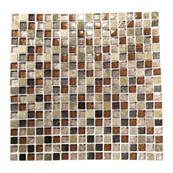 "Squares Leather Boot Brown Blend Marble & Glass Tile Squar - LEATHER BOOT BROWN BLEND 1/2"" X 1/2"" GLASS TILE The glass and stone combination creates a beautifully multi-dimensional effect. Great to install kitchen backsplash, bathrooms and any decorated spot in your home. The mesh backing not only simplifies installation, it also allows the tiles to be separated which adds to their design flexibility. Chip Size: 1/2"" x 1/2"" Color: Light Emperidor, Metallic Bronze, Metallic Peach and Metallic Brown-Silver Material: Glass, Emperidor Stone Finish: Polished Sold by the Sheet - each sheet measures 12"" x 12"" (1 sq. ft.) Thickness: 8mm"