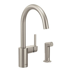 Moen - Moen 7165SRS Align Spot Resist Stainless One-Handle High Arc Kitchen Faucet - Moen 7165SRS Align Spot Resist Stainless one handle High Arc Kitchen Faucet. From Classic home kitchens to large elegant workstations, Align Faucets add a modern and functional look to your cooking area. Subtle lines create a contemporary style, while the pull down/out wand adds functionality. Additional feature for this Faucet include a highly reflective mirror like Chrome finish, a limited lifetime warranty, and its equipped with the Reflex system for smooth operation, easy movement and secure docking of the pull down/pullout spray head. Great for everyday light work, and those days when heavy-duty cleanups are necessary also.