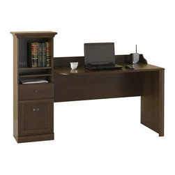 "Bush - Bush Barton 48"" Computer Workstation Desk in Bing Cherry - Bush - Computer Desks - HM0161803 - Fits the way you work and accommodates the tightest space. Complete, functional Bush Barton 48� Computer Workstation Desk offers a generous work surface yet has an ultra-compact footprint for smaller offices. Classic design features framed doors and crown moldings to make a beautiful statement. Open storage compartment, with one adjustable shelf, holds binders, manuals-books, paper and supplies. Flip down door front gives easy access to recharge station, a convenient docking bay for powering such personal electronic devices as MP3 players and cell phones. Integrated technology cabinet, with adjustable shelf, can house small electronic components like modems, routers and power strips (not included). Ventilated bottom shelf lets in air for efficient cooling. Open slot behind technology cabinet allows unit to overlay standard electrical outlet for easy access to power source. Attractive Bing cherry finish resists scratches, stains and nicks. Includes Bush 1-year warranty."