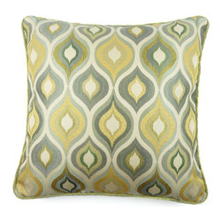 KOVI Home Decor - Pepper Pillow Cover, Sage - Bring international flair and influence into your home with this Moroccan inspired design. The Pepper Pillow Cover in Sage color is handcrafted in a beautiful multi-colored fabric. This fabric is 100% polyester, and features a intriguing blend of green, gold, silver, and light blue colors on a natural background with pronounced green piping along the perimeter. The pattern is woven into the fabric, and will outlast pillows with printed fabrics. This pillow cover comes with a concealed side zipper to ensure simple removal for cleaning.