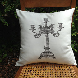 Vintage Steampink Candelabra Decorative Pillow Cover by Urban Farmhouse Chic - Maybe just a toss pillow with a Victorian detail is all you need to some steampunk style in your home.