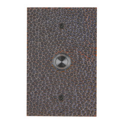Waterwood - Solid Brass Large Hammered Plate Doorbell in Oil Rubbed Bronze - The Waterwood Solid Brass Hammered Plate Doorbell's rustic quality and old world charm will compliment your front porch and door hardware. This solid brass doorbell is crafted using the sand casting technique. It is then hand finished and coated with a protective lacquer to withstand the elements. Waterwood doorbells are easy to install and will add personality to your home. It comes with a lighted push button and mounting screws.