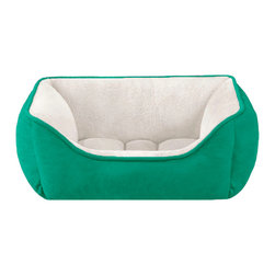 Halo - Halo Rectangular Cuddler - The reversible rectangular cuddler features an emerald green micro suede fabric and an ivory color that is made of soft microtec plush fabric. The based is tufted to hold the filling in place so your bed can have the best comfort while sleeping. The cuddler is reversible so you can use which ever color you prefer! The reversible 2 in 1 Cuddler can be inverted to provide cool/warm sleeping comfort. Featuring Tuff Chew water resistant Unisuede and Microtec. Tufted base holds filling in place.