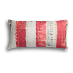 Carrier Collective - USA Lumbar Pillow - Crafted of linen/cotton fabrics, Carrier Collective Art Pillows are created from the original Mixed Media and Acrylic Paintings of the artist/owner Angie Carrier.