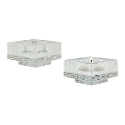 Lazy Susan - Square Windowpane Crystal Small Candleholders, Set of 2 - Square Windowpane Crystal Small Candleholders, Set of 2