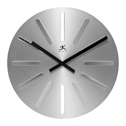 Infinity Instruments, Ltd. - Ultra Clock - Infinity Instruments Ultra wall clock is a stylish modern designed wall clock. A smooth clean looking clock that will look great in a modern décor setting. This stylish clock is made of a machined aluminum with black metal hands.