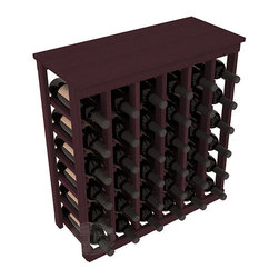 36 Bottle Kitchen Wine Rack in Redwood with Burgundy Stain - A small wine rack with big storage. This wine rack kit is the best choice for converting tiny spaces into big wine storage. The solid wood top excels as a table for wine accessories, small plants, and wine collectables. Store 3 cases of wine properly in a space smaller than most entry tables!
